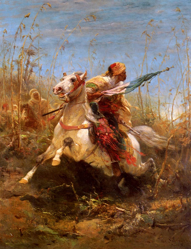 Arab Warrior Leading A Charge | Adolf Schreyer | Oil Painting