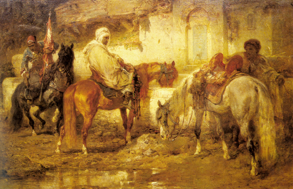At The Watering Place   Adolf Schreyer   Oil Painting
