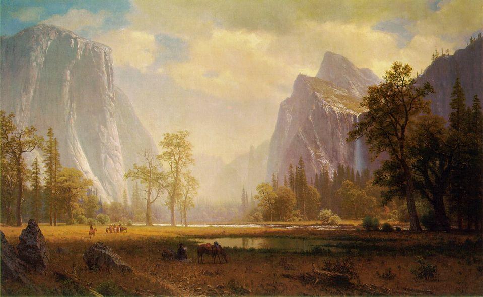 Looking Up The Yosemite Valley 1865 67   Albert Bierstadt   Oil Painting