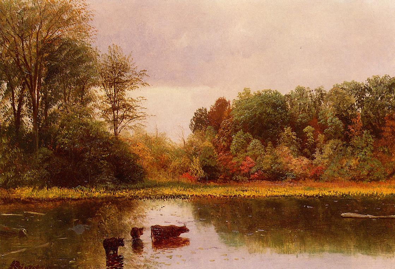 Cows Watering in a Landscape   Albert Bierstadt   Oil Painting