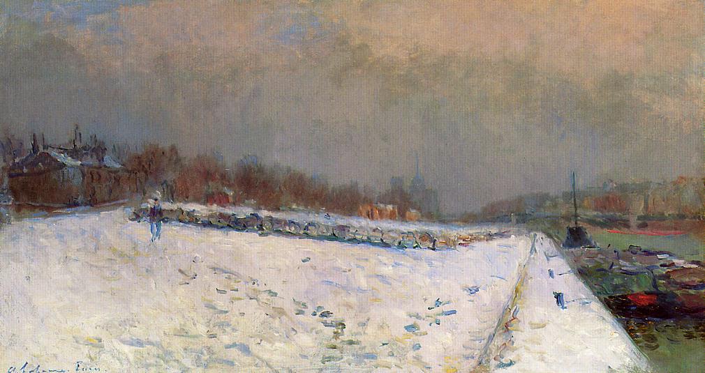 Картинки по запросу giclee painting: lebourg's port de bercy, en hiver, 61x41in.