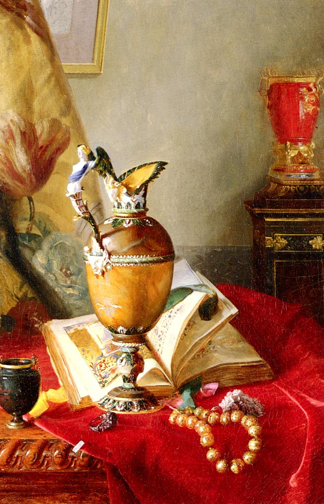 A Still Life With Urns And Illuminated Manuscript On A Draped Table | Alexandre Blaise Desgoffe | Oil Painting