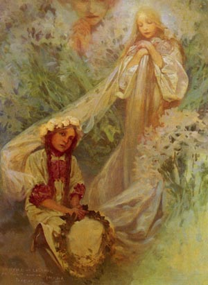 Maria Madonna Of The Lilies | Alphonse Mucha | Oil Painting