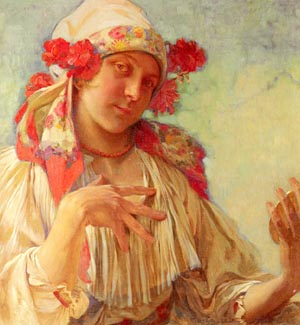 Maria Young Girl In A Moravian Costume | Alphonse Mucha | Oil Painting