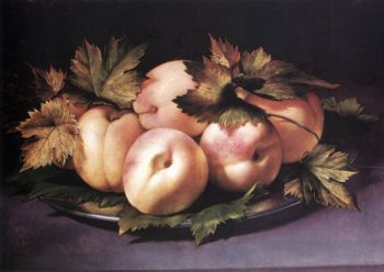Still Life With Peaches And Fig Leaves 1590s | Ambrogio Figino-Giovanni | Oil Painting