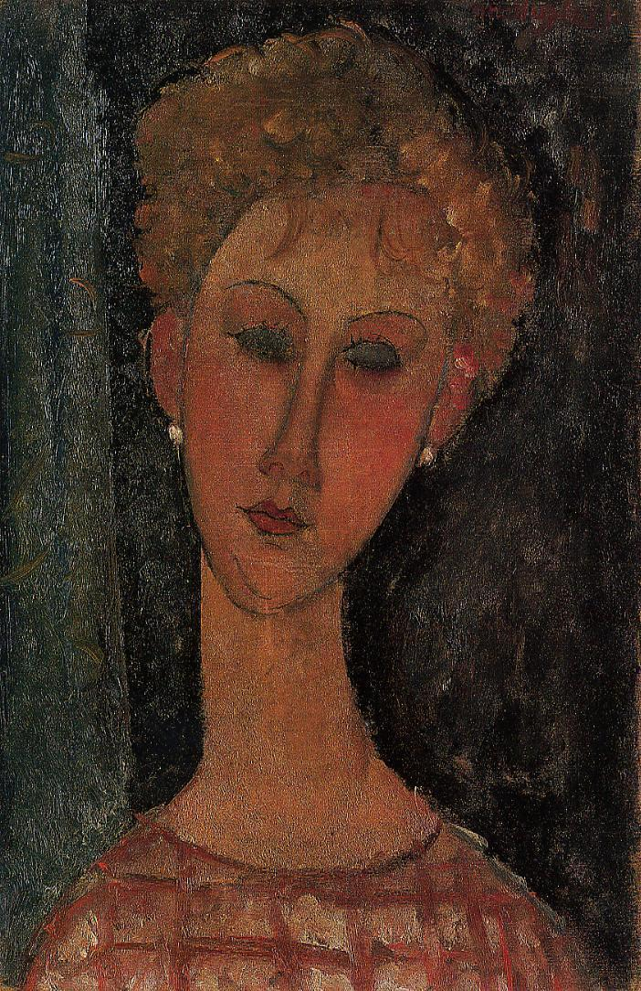 A Blond Wearing Earings 1918 1919 | Amedeo Modigliani | Oil Painting