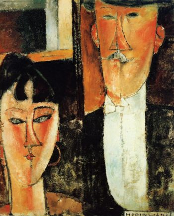 Bride and Groom (aka The Newlyweds) 1915 1916   Amedeo Modigliani   Oil Painting