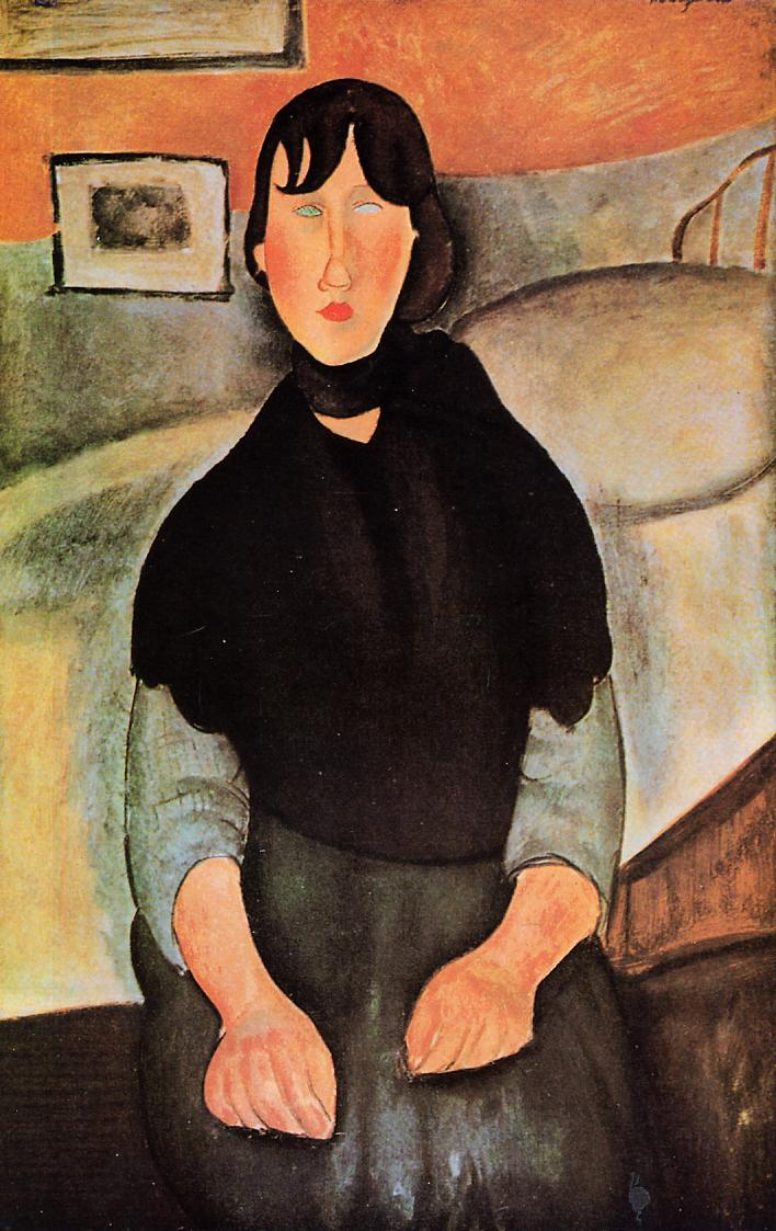 Dark Young Woman Seated by a Bed 1918 | Amedeo Modigliani | Oil Painting