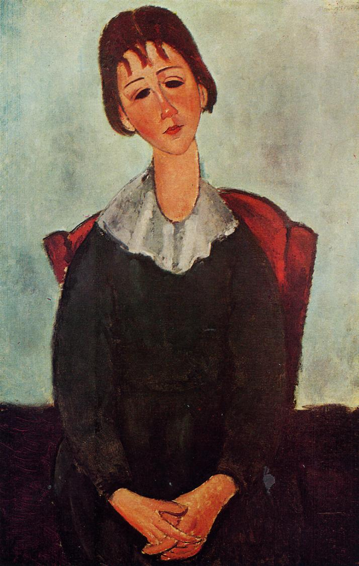Girl on a Chair (aka Mademoiselle Huguette) 1918 | Amedeo Modigliani | Oil Painting