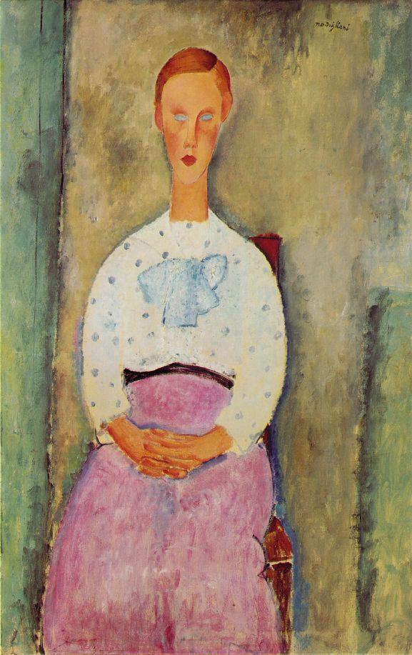 Girl with a Polka Dot Blouse 1919 | Amedeo Modigliani | Oil Painting