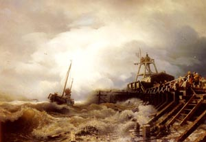 A Fishing Boat Caught In A Squall Off A Jetty | Andreas Achenbach | Oil Painting