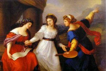 Self Portrait Hesitating Between The Arts Of Music And Painting 1791 | Angelica Kauffman | Oil Painting
