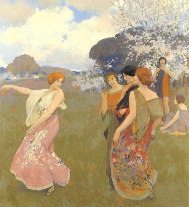 Spring Dance 1917   Arthur Frank Mathews   Oil Painting