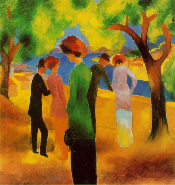Lady in a Green Jacket 1913 | Auguste Macke | Oil Painting