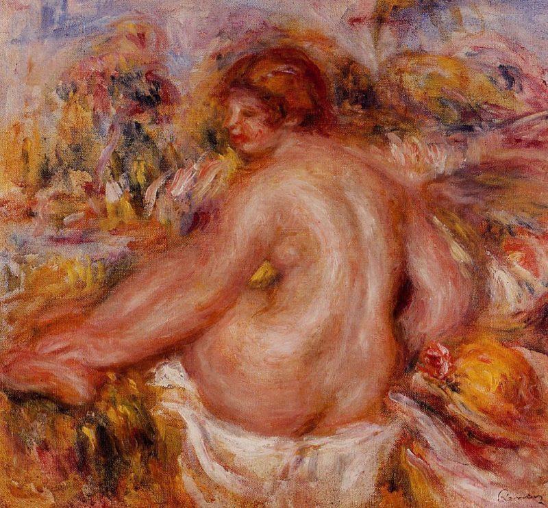 After Bathing Seated Female Nude | Pierre Auguste Renoir | Oil Painting