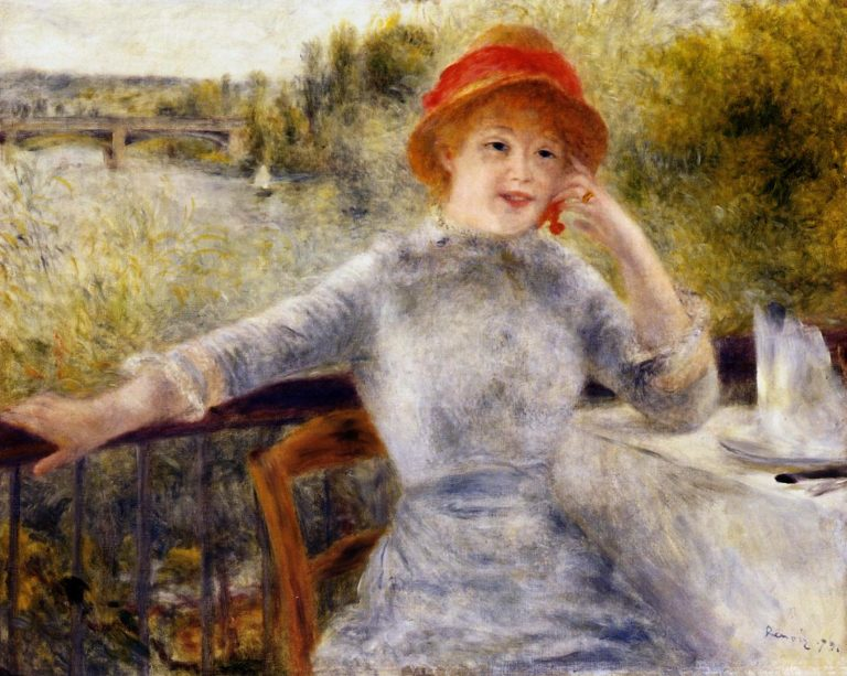 Alphonsine Fournaise on the Isle of Chatou 1879   Pierre Auguste Renoir   Oil Painting