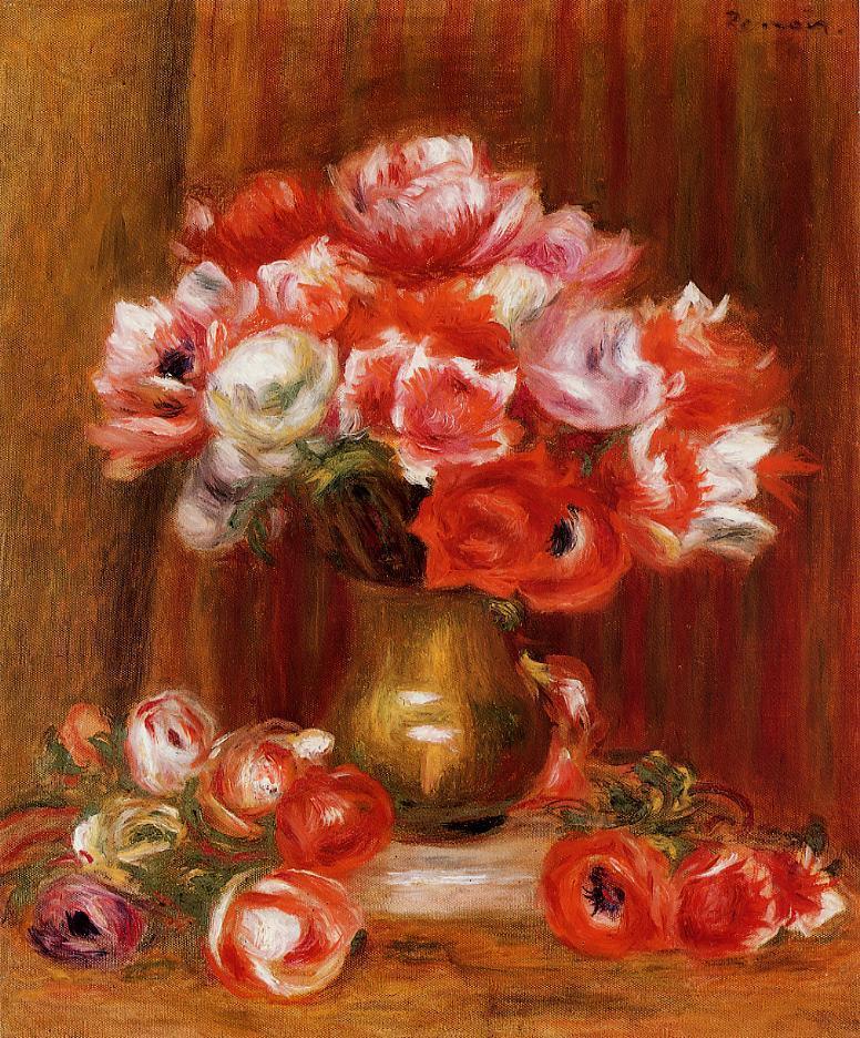 Anemones 1909   Pierre Auguste Renoir   Oil Painting