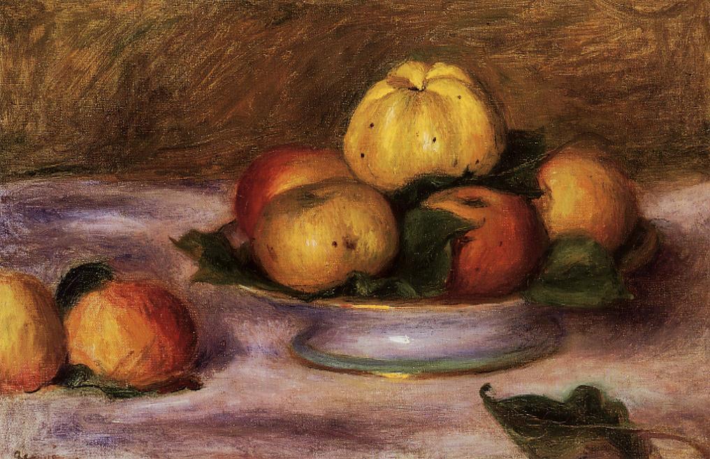 Apples on a Plate 1890   Pierre Auguste Renoir   Oil Painting