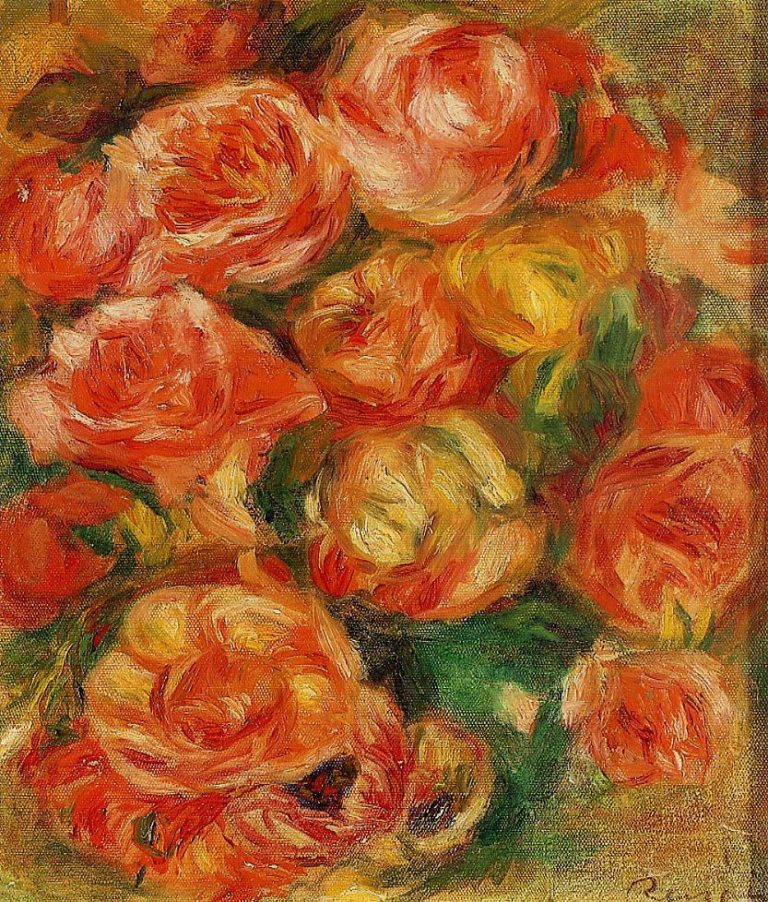 A Bowlful of Roses | Pierre Auguste Renoir | Oil Painting