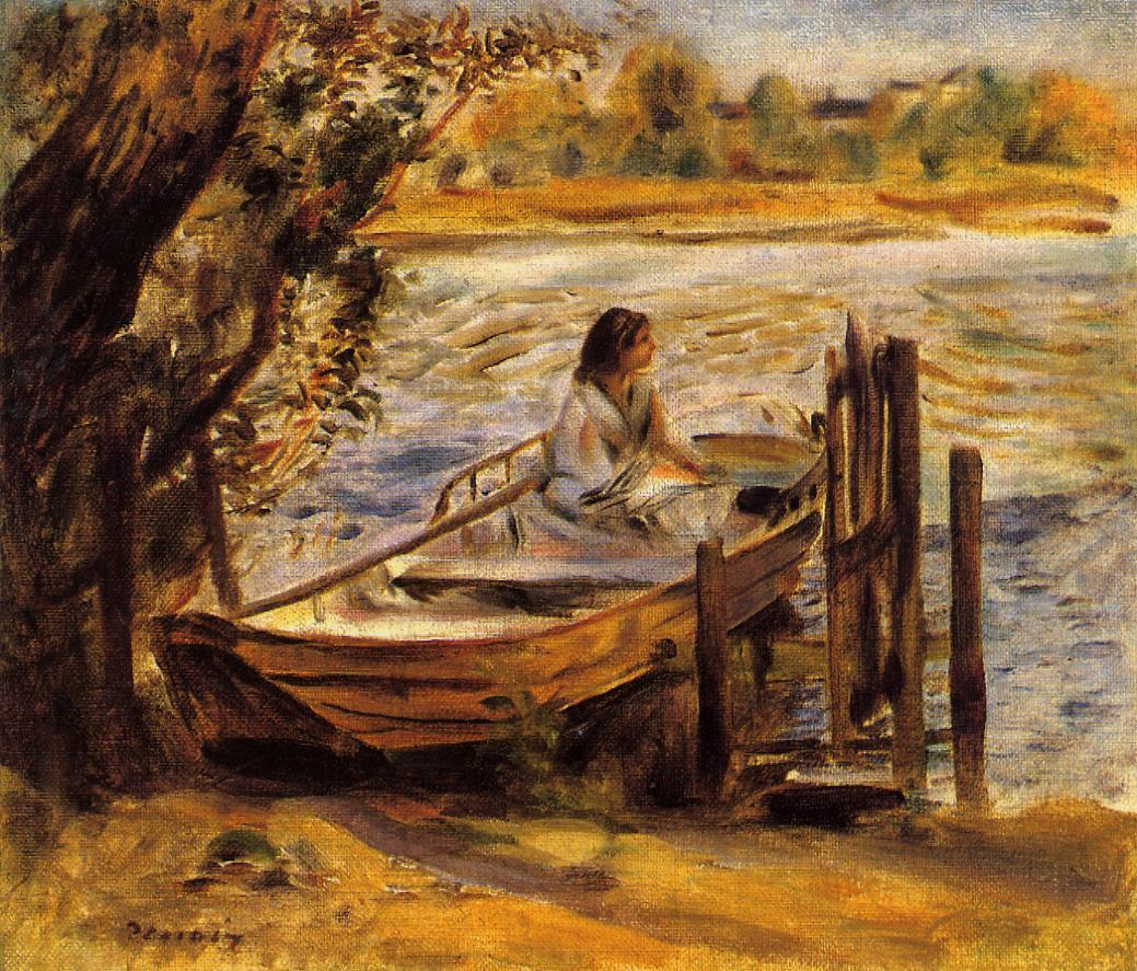 Young Woman in a Boat (aka Lise Trehot) 1870 | Pierre Auguste Renoir | Oil Painting