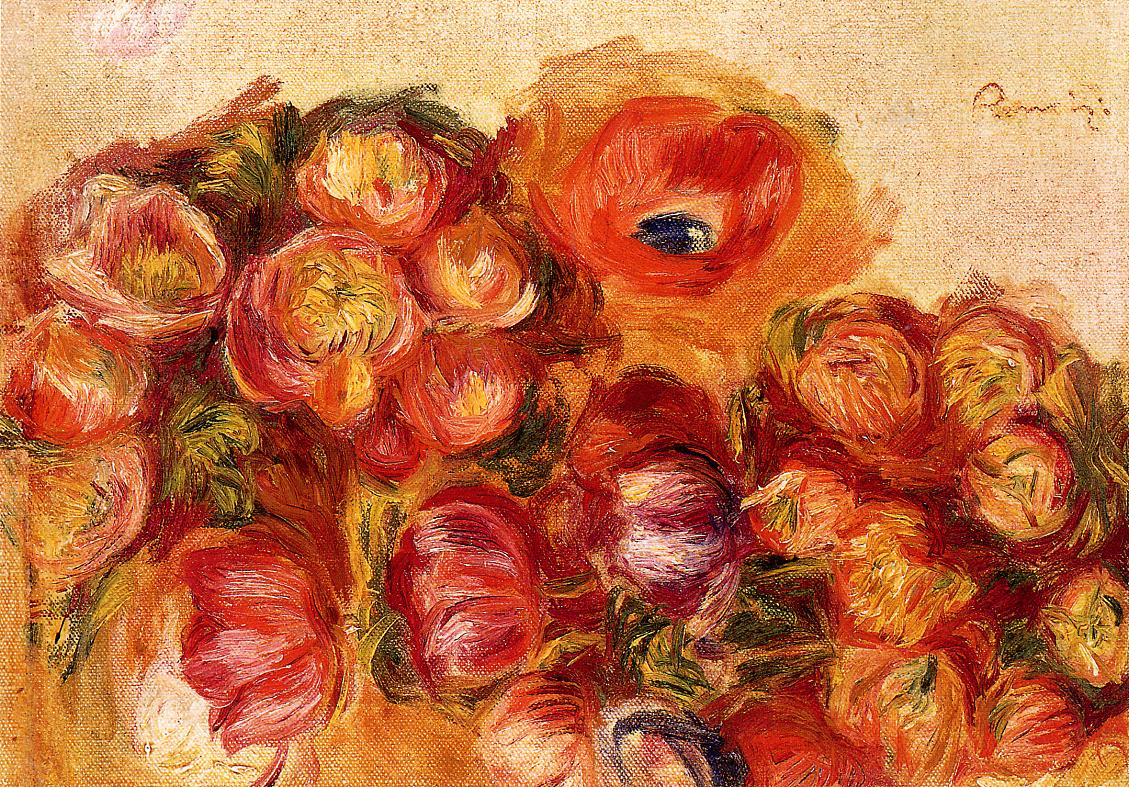 Study of Flowers - Anemones and Tulips 1906-1910 | Pierre Auguste Renoir | Oil Painting