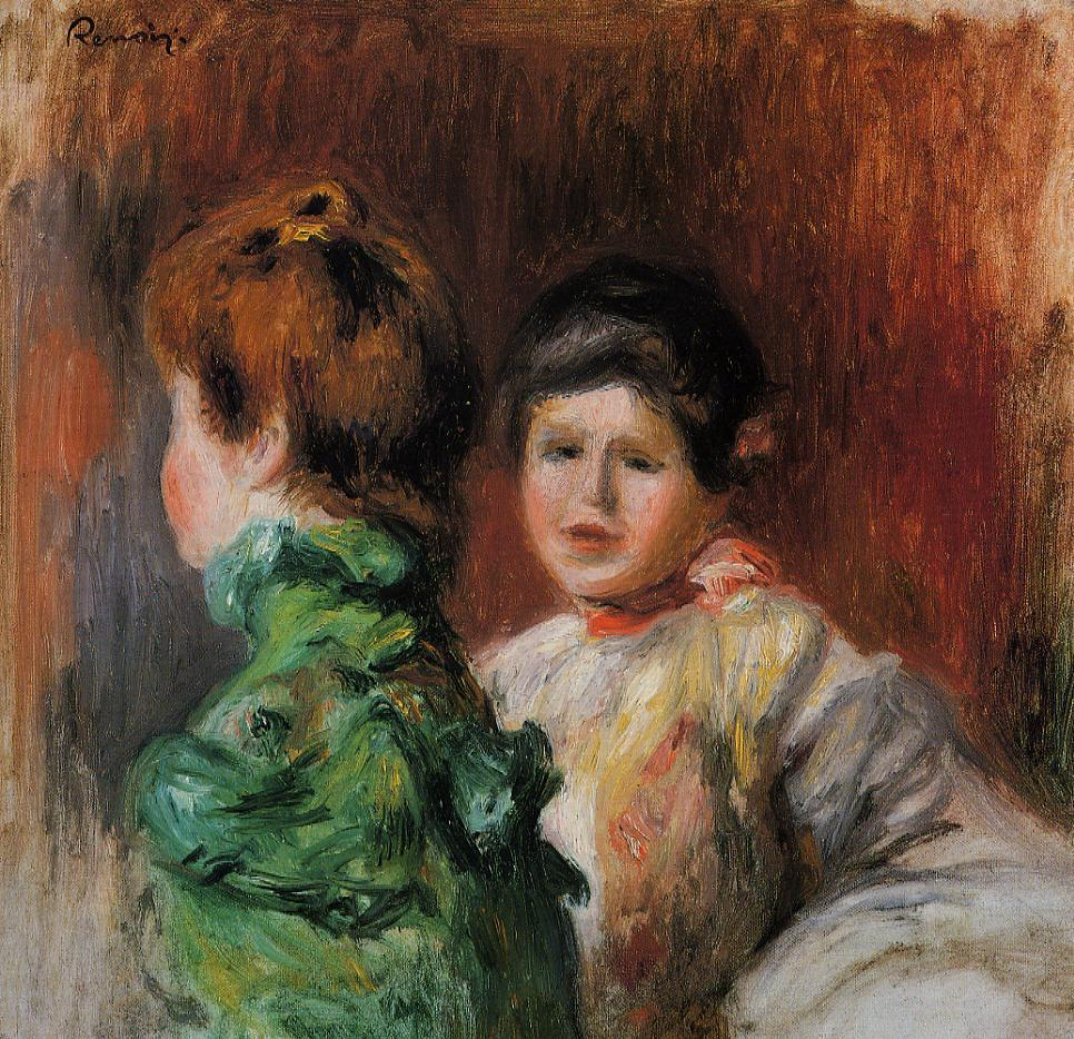 Study Two Womens Heads 1895 | Pierre Auguste Renoir | Oil Painting