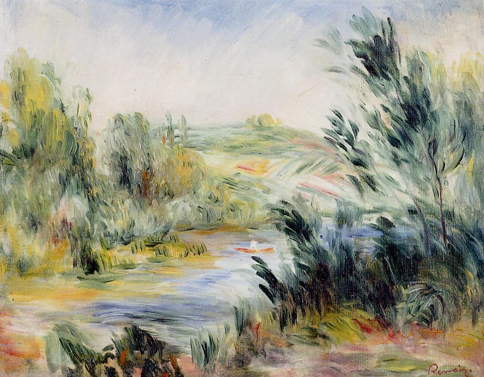 The Banks of a River Rower in a Boat | Pierre Auguste Renoir | Oil Painting