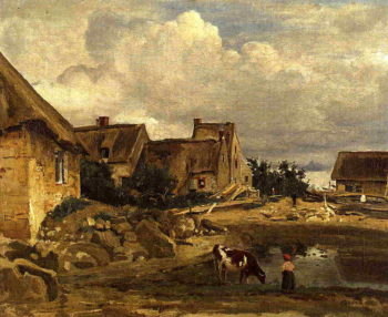 A Farmyard near Fontainebleau 1828-1830 | Jean Baptiste Corot | Oil Painting