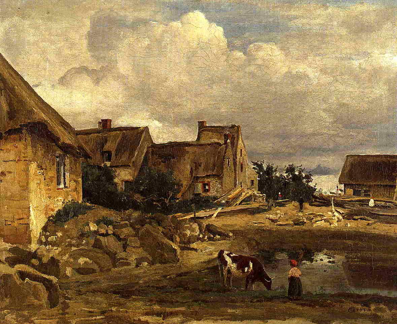A Farmyard near Fontainebleau 1828-1830 | Jean Baptiste Corot | Oil Painting