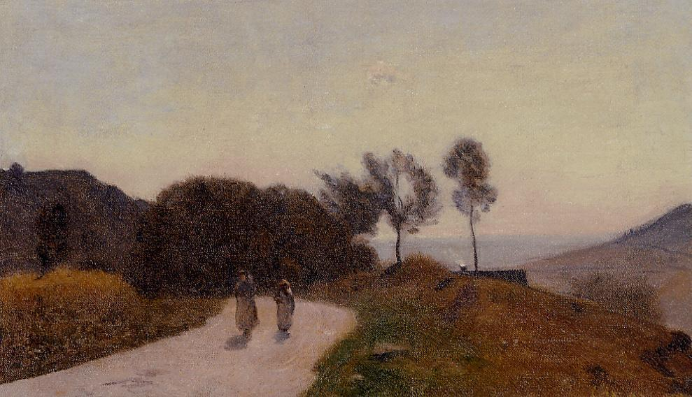 A Road in the Countryside Near Lake Leman 1845-1855   Jean Baptiste Corot   Oil Painting