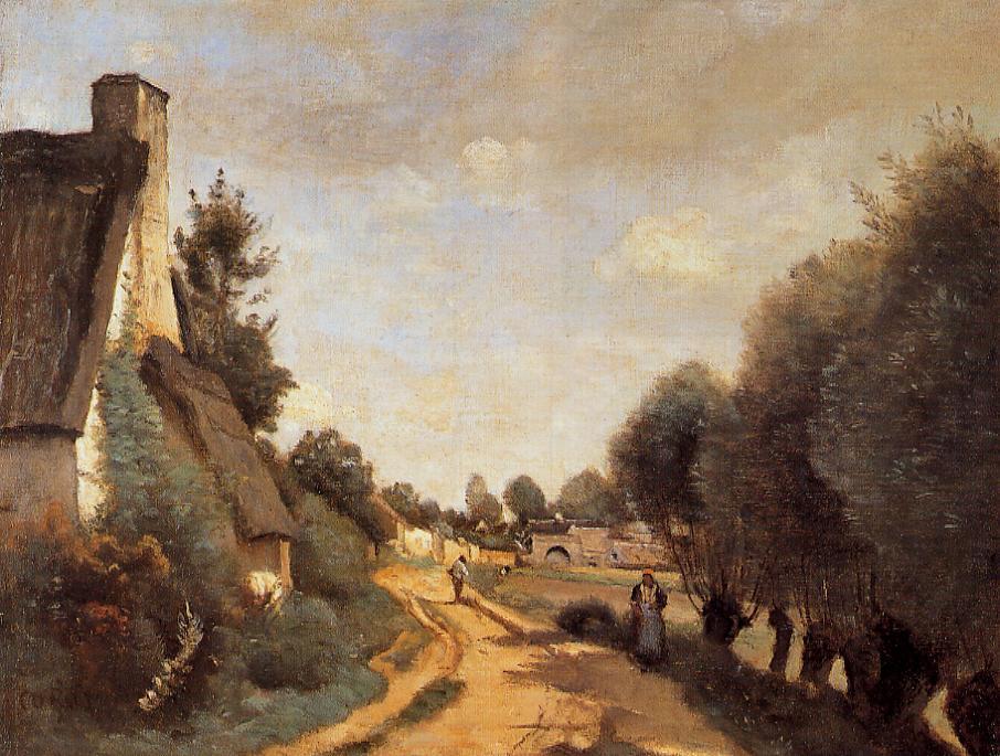 A Road near Arras 1853-1858   Jean Baptiste Corot   Oil Painting