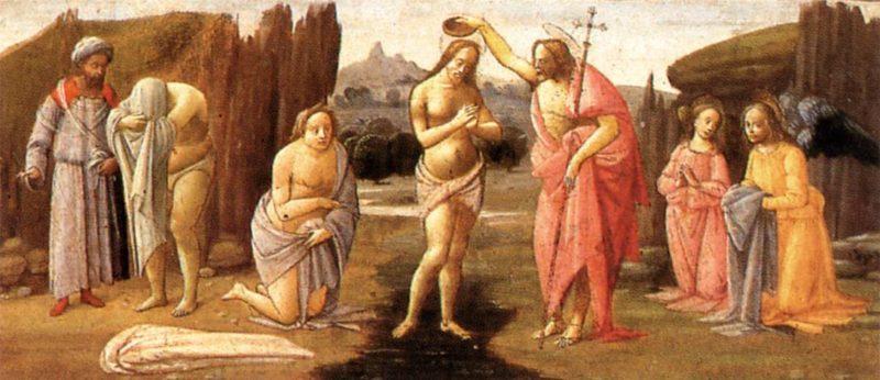 Predella Baptism Of Christ 1488 | Bartolomeo Di Giovanni | Oil Painting