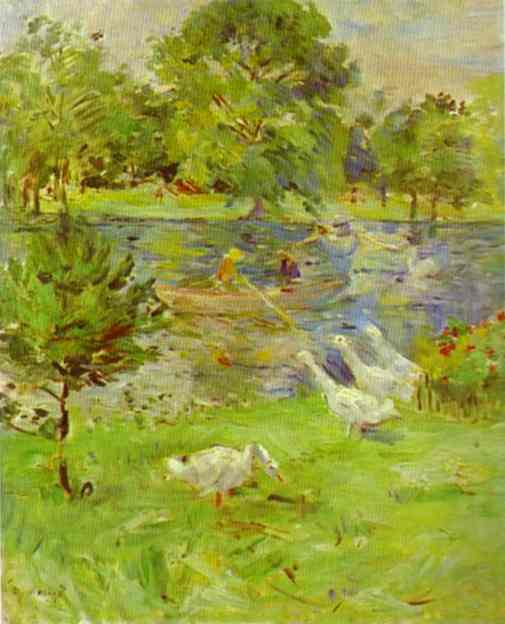 Girl In A Boat With Geese 1889   Berthe Morisot   Oil Painting