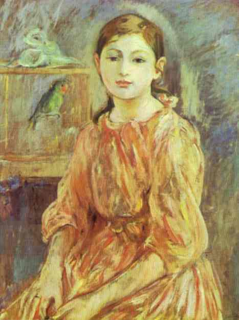 The Artists Daughter With A Parakeet 1890   Berthe Morisot   Oil Painting