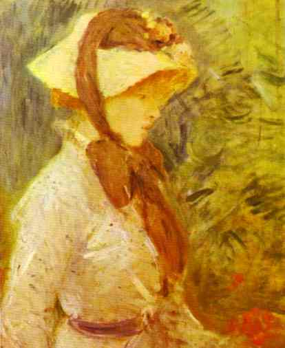 Young Woman With A Straw Hat 1884   Berthe Morisot   Oil Painting