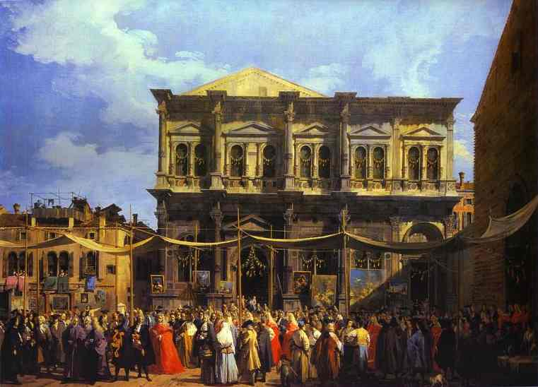 He Doge Visiting Thehurch And Scuola Di San Rocco 1735 | Canaletto | Oil Painting