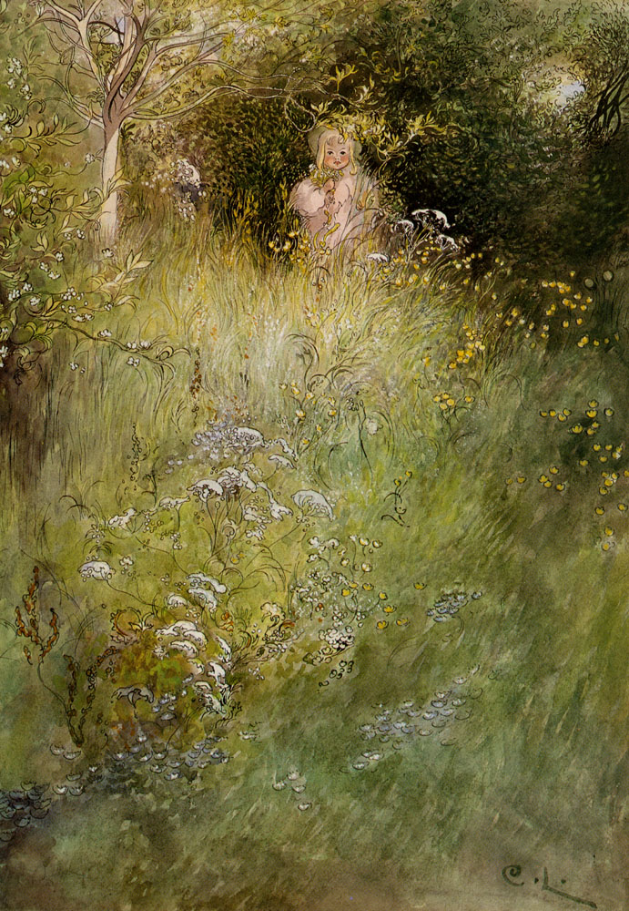 A Fairy Or Kersti And A View Of A Meadow | Carl Larsson | Oil Painting