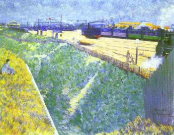 The Western Railway Leaving Paris 1886 | Charles Angrand | Oil Painting