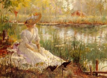 A Beauty By A River | Charles James Theriat | Oil Painting