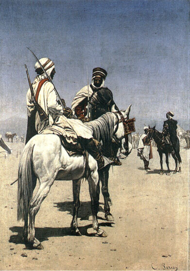 Arab Men On Horseback | Charles Louis Porion | Oil Painting