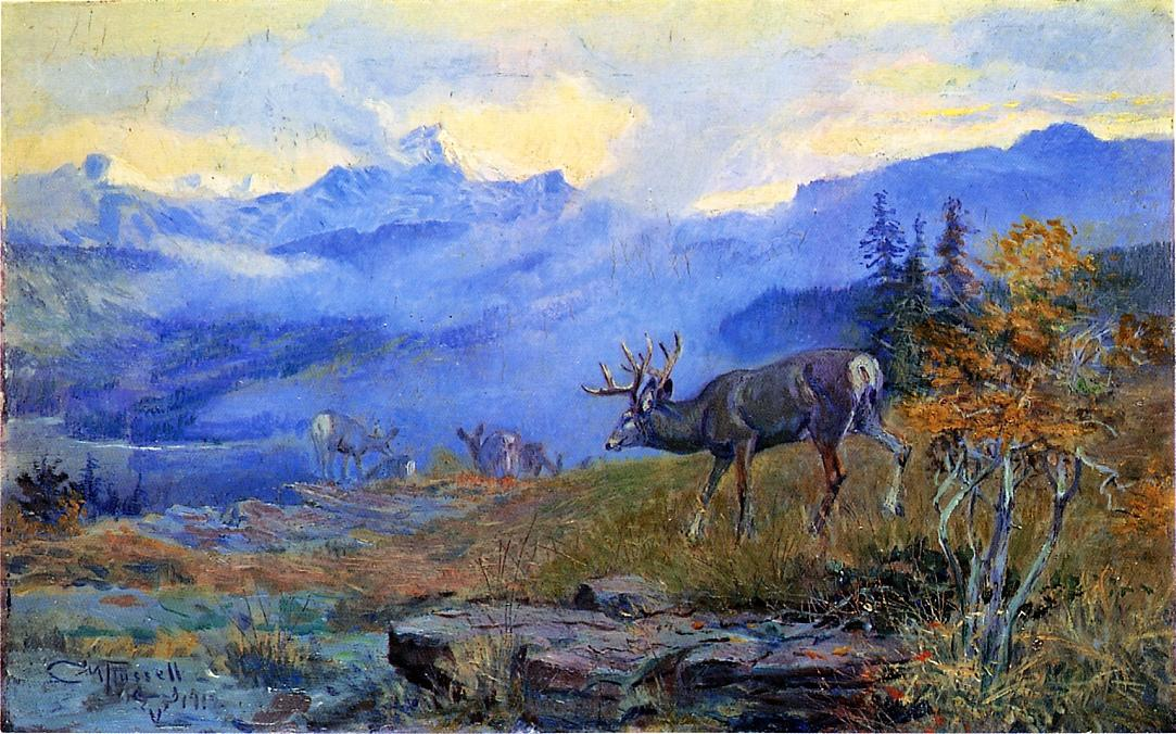 Deer Grazing 1912 | Charles Marion Russell | Oil Painting