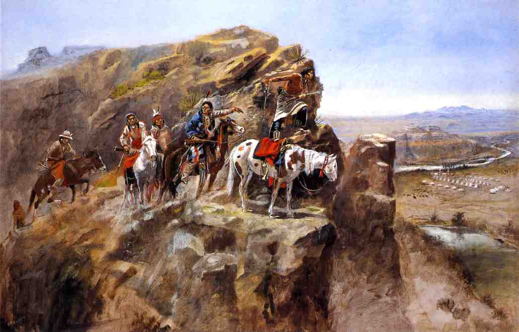 Indians on a Bluff Surveying General Miles' Troops | Charles Marion Russell | Oil Painting
