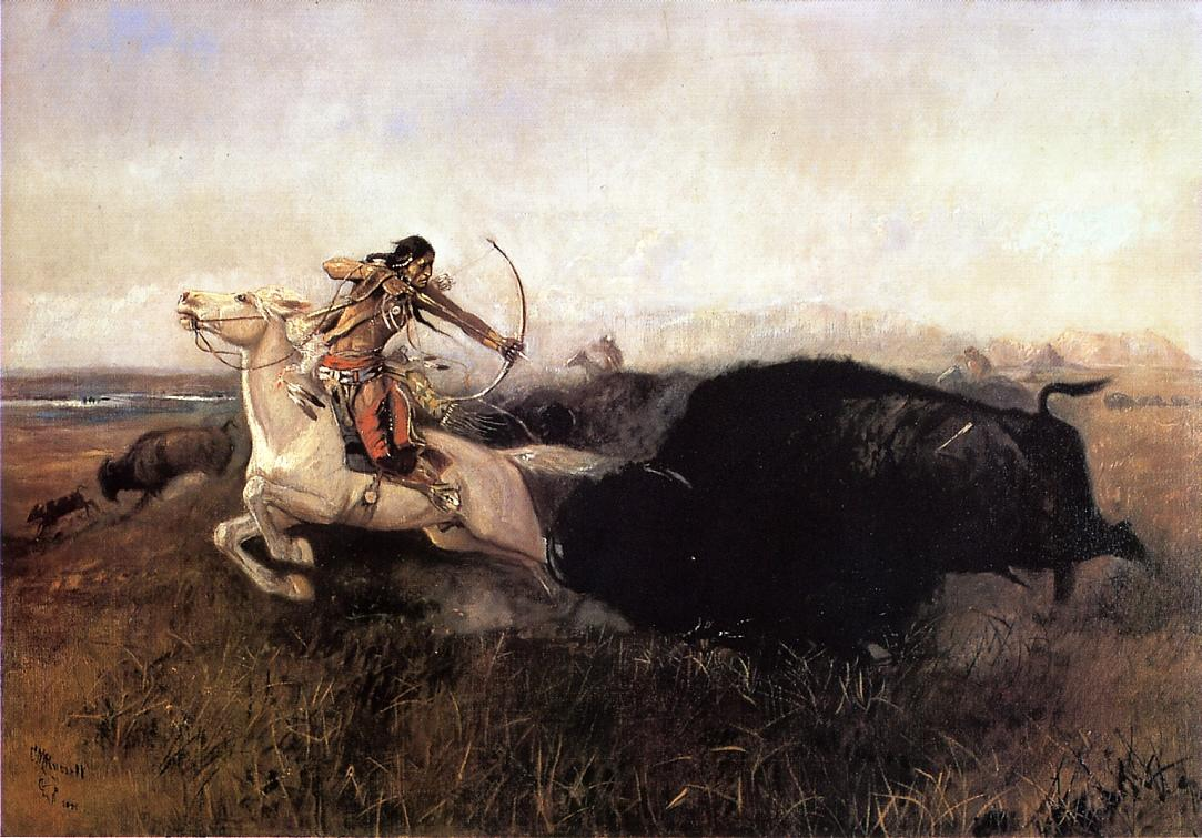 Indians Hunting Buffalo 1894 | Charles Marion Russell | Oil Painting
