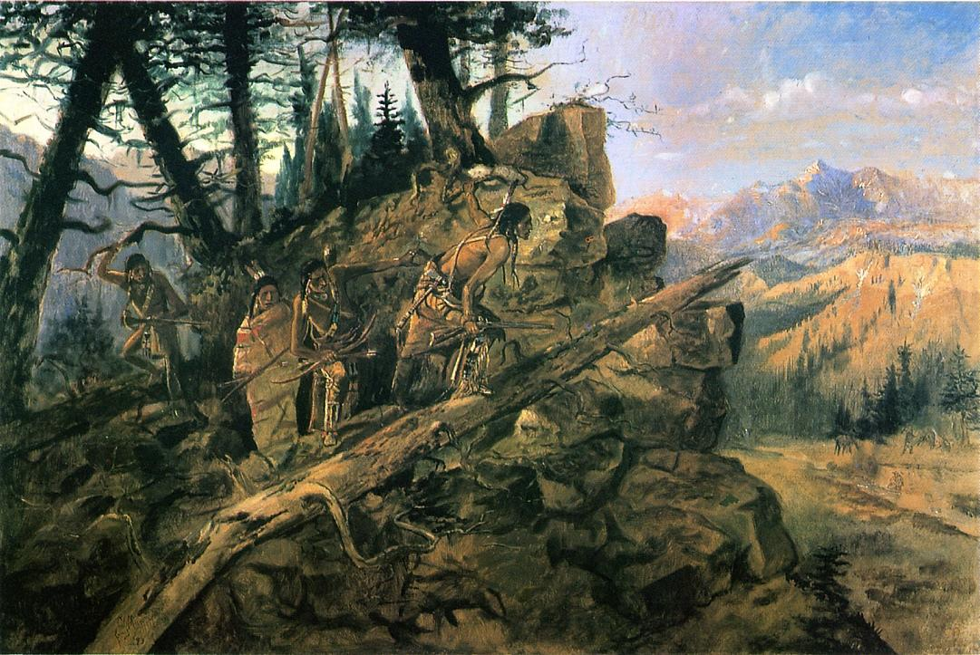 Plunder on the Horizon (aka Indians Discover Prospectors) 1893 | Charles Marion Russell | Oil Painting