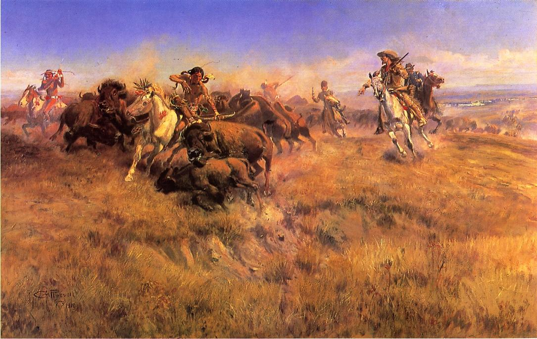 Running Buffalo 1918 | Charles Marion Russell | Oil Painting