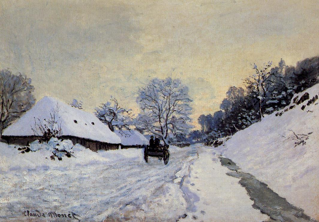 A Cart on the Snow Covered Road with Saint-Simeon Farm 1865 | Claude Monet | Oil Painting