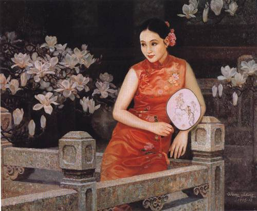 A Lady in Her Back Yard | Yi Ding Wang | Oil Painting