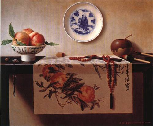 Chinese Painting with Peach | Dong Ming Lu | Oil Painting