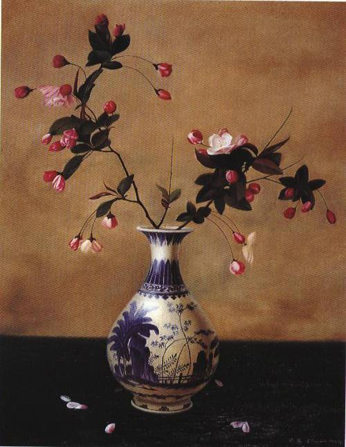 Flowers In A Vase Painting Ling Ji Oil Paintings