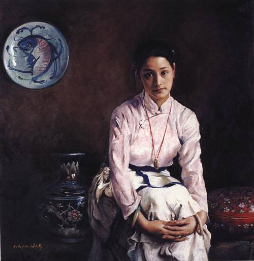 Girl and Fish Plate | Hong Hai Pan | Oil Painting